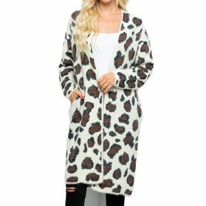 Sweaters - Animal Print Nylon Blend Fuzzy Cardigan